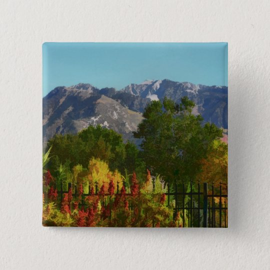 Wasatch Mountain Autumn In Utah 15 Cm Square Badge