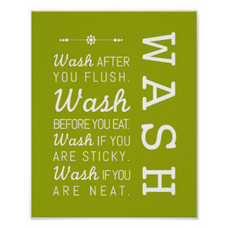Wash | Bathroom Rules Poster Art Print 8x10
