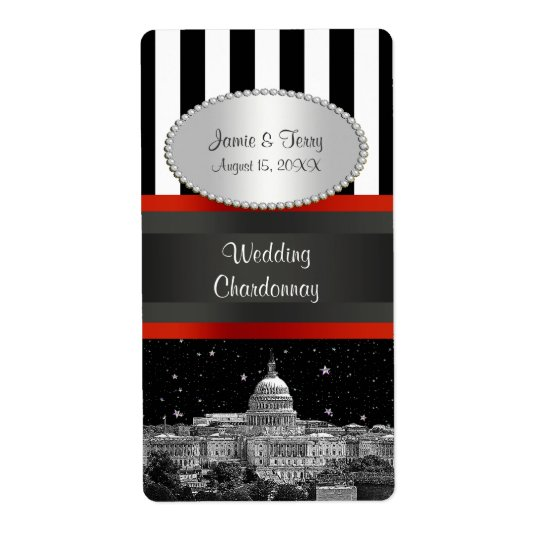 Wash DC Skyline Blk Wht Stripe P Party Wine Label