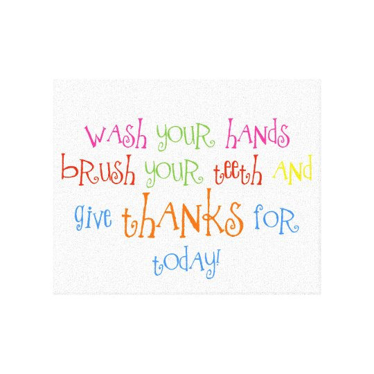 Wash Your Hands Give Thanks Bathroom Print Art
