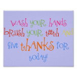 Wash Your Hands Give Thanks Poster Bathroom Decor
