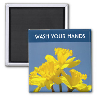 WASH YOUR HANDS magnets Healthcare Advice Daffodil