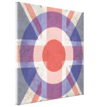 Washed Mod Target on aged union jack Stretched Canvas Prints