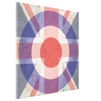 Washed Mod Target on aged union jack Canvas Print