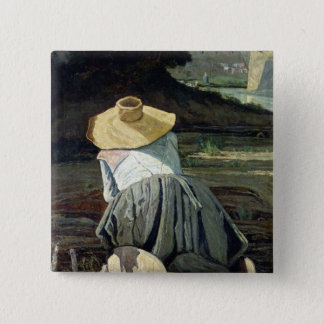 Washerwoman by the River, 1860 15 Cm Square Badge