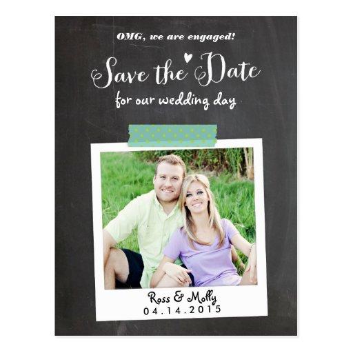 Washi Taped Polaroid Save the Date Postcard