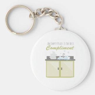 Washing Dishes Basic Round Button Key Ring