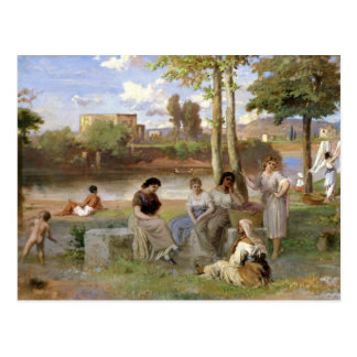Washing on the Tiber, 1864 Postcard