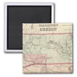 Washington and Oregon and Idaho and Montana Fridge Magnet