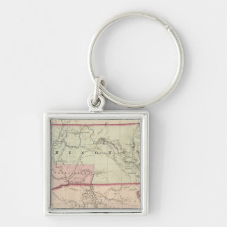 Washington and Oregon and Idaho and Montana Silver-Colored Square Key Ring