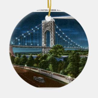 Washington Bridge and Hudson River Christmas Ornament