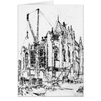 Washington Cathedral Construction 1923 Greeting Card