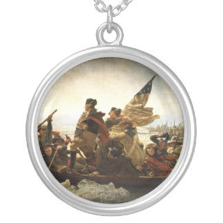 Washington Crossing the Delaware - 1851 Silver Plated Necklace