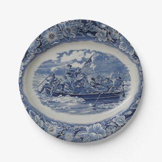 Washington Crossing the Delaware a la Wedgwood 7 Inch Paper Plate