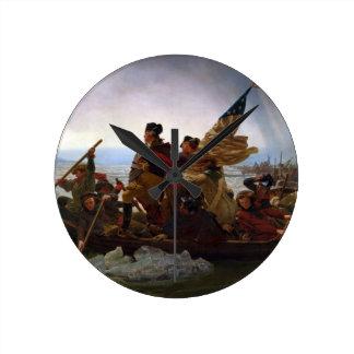 Washington Crossing the Delaware by Emanuel Leutze Round Clock