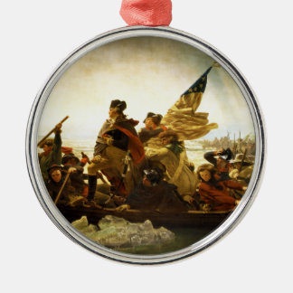 Washington Crossing the Delaware by Emanuel Leutze Silver-Colored Round Decoration