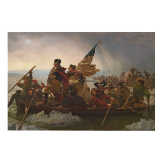 Washington Crossing The Delaware by Emanuel Leutze Wood Print