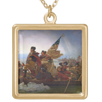 Washington Crossing the Delaware River Gold Plated Necklace