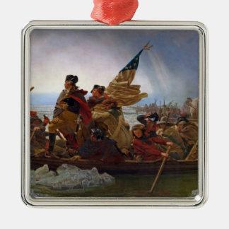 Washington Crossing the Delaware River Silver-Colored Square Decoration