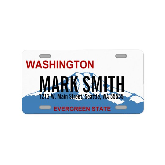Washington custom license plate address labels
