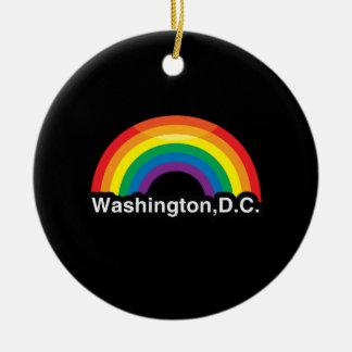 WASHINGTON D.C. LGBT PRIDE RAINBOW ROUND CERAMIC DECORATION