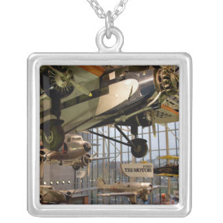 WASHINGTON, D.C. USA. Aircraft displayed in Silver Plated Necklace