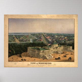 Washington DC 1852 Antique Panoramic Map Poster