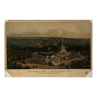 Washington DC 1856 Antique Panoramic Map Posters