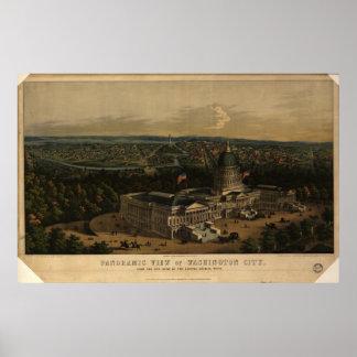 Washington DC 1856 Antique Panoramic Map Print