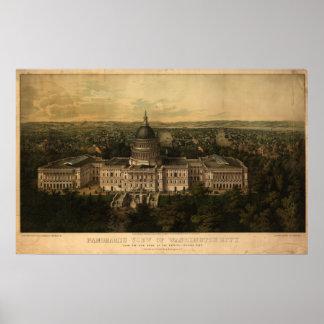 Washington DC 1857 Antique Panoramic Map Posters