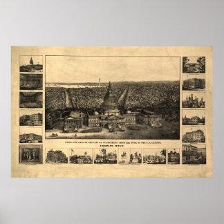 Washington DC 1860 Antique Panoramic Map Poster
