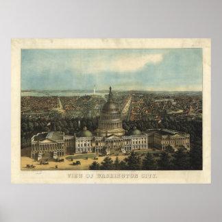 Washington DC 1871 Antique Panoramic Map Poster