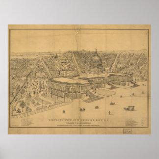 Washington DC 1872 Antique Panoramic Map Poster