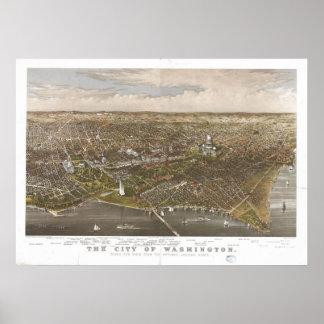 Washington DC 1880 Antique Panoramic Map Print