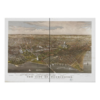 Washington DC 1880 Antique Panoramic Map Posters