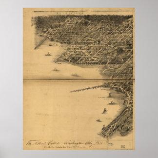 Washington DC 1883 Antique Panoramic Map Poster