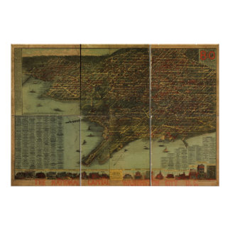 Washington DC 1884 Antique Panoramic Map Posters
