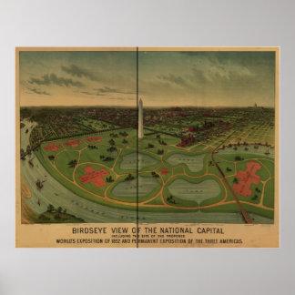Washington DC 1888 Antique Panoramic Map Print