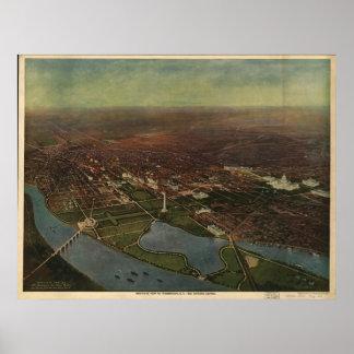 Washington DC 1916 Antique Panoramic Map Poster