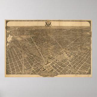 Washington DC 1921 Antique Panoramic Map Poster