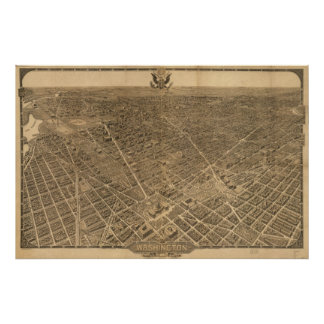 Washington DC 1921 Antique Panoramic Map Posters