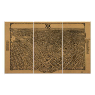 Washington DC 1922 Antique Panoramic Map Poster
