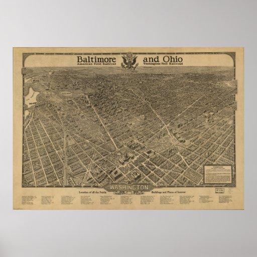 Washington DC 1923 Antique Panoramic Map Poster