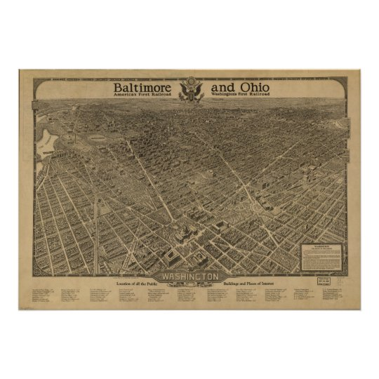 Washington DC 1923 Antique Panoramic Map Poster