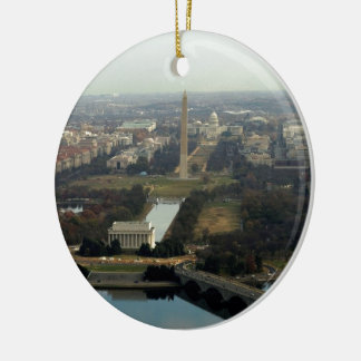 Washington DC Aerial Photograph Round Ceramic Decoration