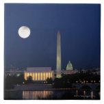 Washington DC at Night Large Square Tile
