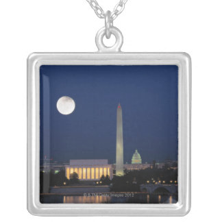 Washington DC at Night Silver Plated Necklace