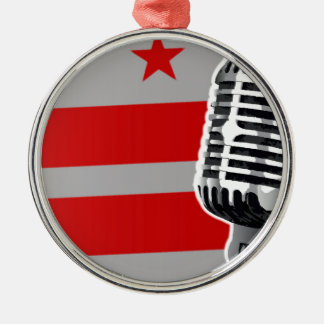 Washington DC Flag And Microphone Silver-Colored Round Decoration