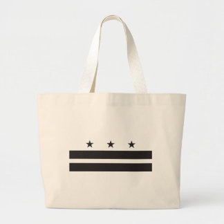 Washington DC Flag - Black Large Tote Bag