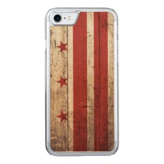 Washington DC Flag on Old Wood Grain Carved iPhone 8/7 Case